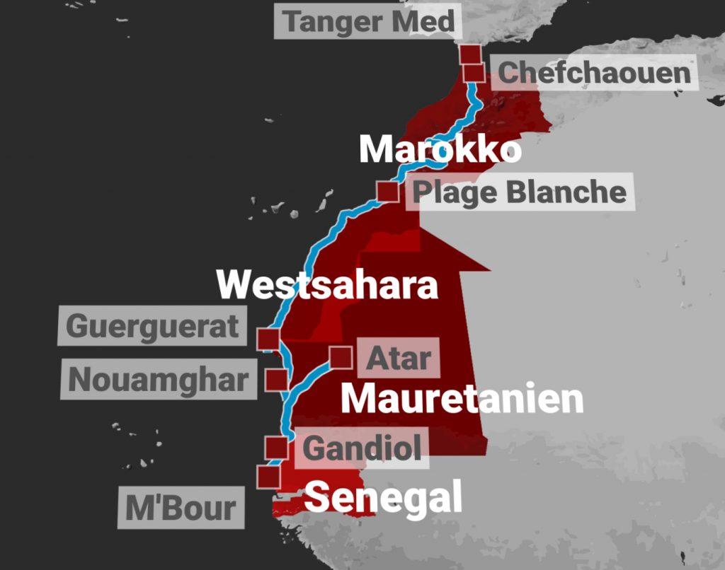 Uebersicht-Reiseroute-Motorrad-Marokko-Mauretanien-Senegal
